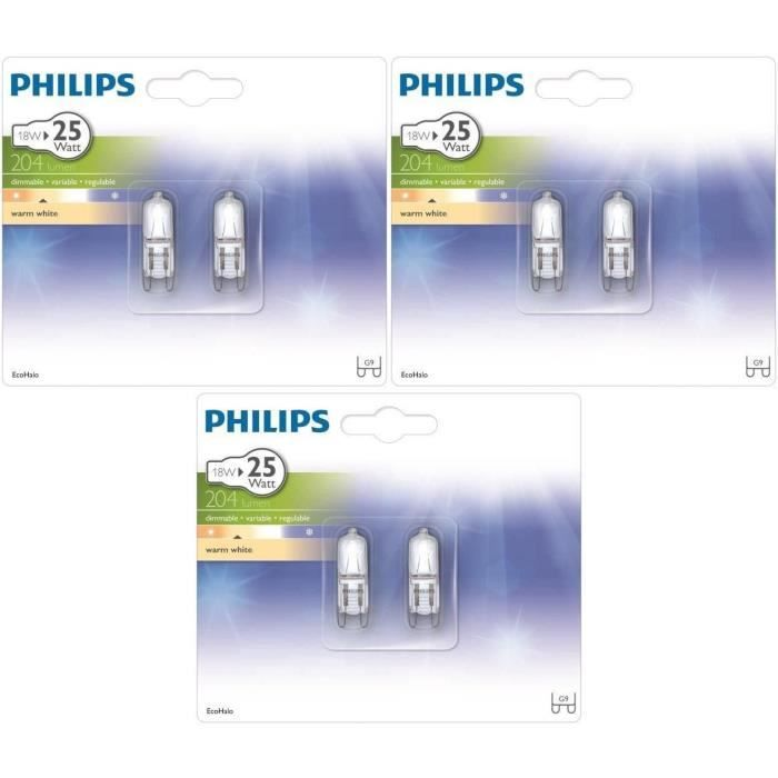 philips capsule lot 6 ampoules ecoclassic 18w g9 philips. Black Bedroom Furniture Sets. Home Design Ideas