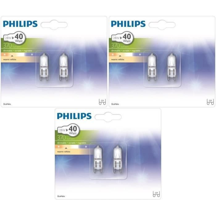 philips capsule lot de 6 ampoules halogene 28w g9. Black Bedroom Furniture Sets. Home Design Ideas