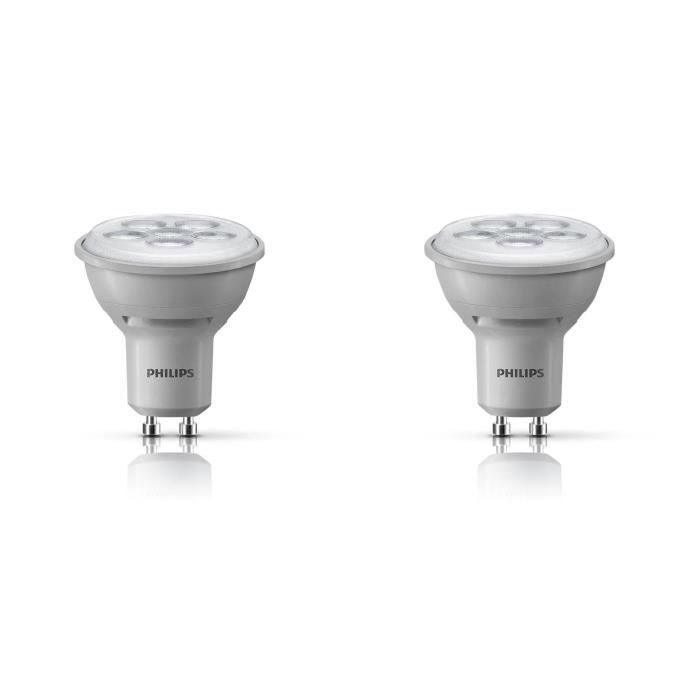philips lot 2 ampoules spot led gu10 50w dimmables. Black Bedroom Furniture Sets. Home Design Ideas
