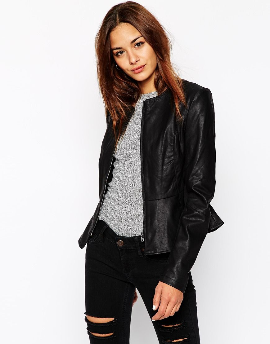 asos blouson de motard avec basque asos pickture. Black Bedroom Furniture Sets. Home Design Ideas