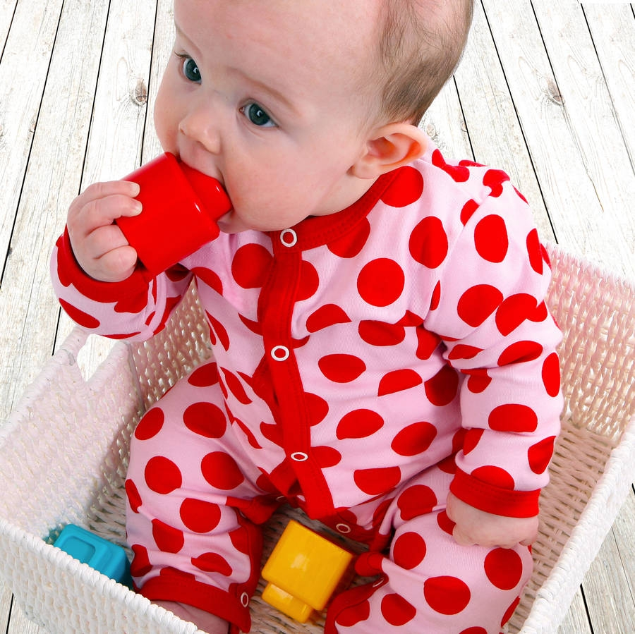 Baby Gift Not On The High Street : Little dotty girl s babygrow by poppet not on the high