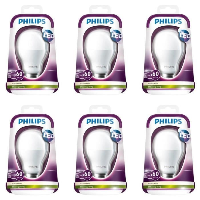 philips standard lot de 6 ampoules led 60w e27 philips pickture. Black Bedroom Furniture Sets. Home Design Ideas