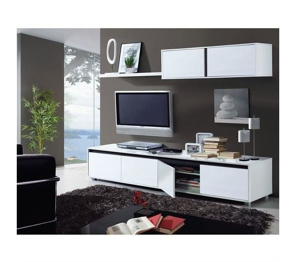 Aura meuble tv mural 200 cm blanc noname pickture for Meuble tv blanc 200 cm