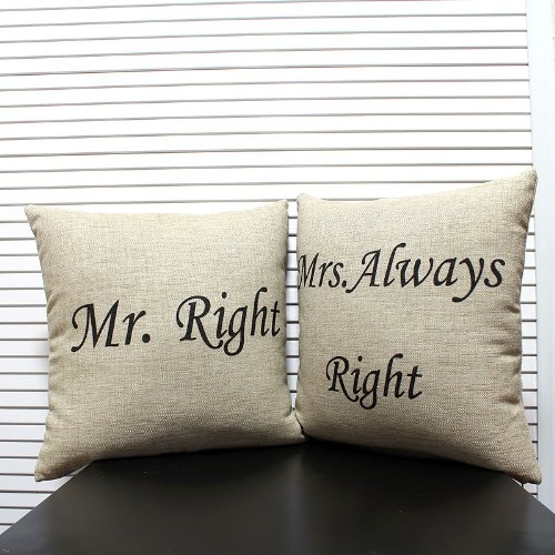 mr right mrs always right pillows pickture. Black Bedroom Furniture Sets. Home Design Ideas