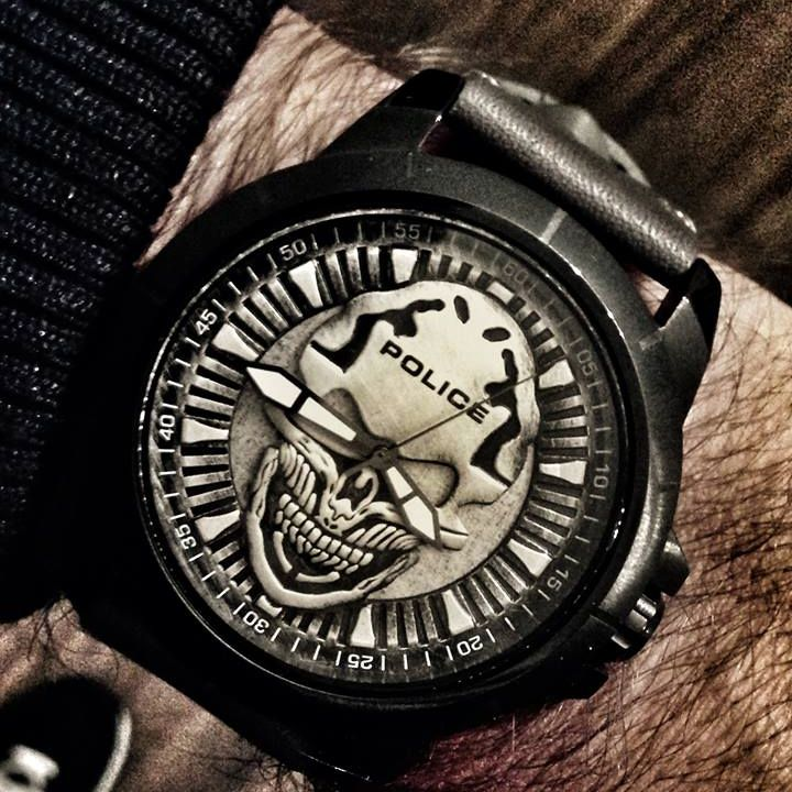 reaper skull dial amp grey leather strap watch   police