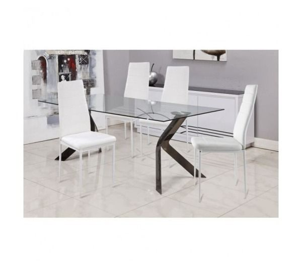 vogue lot de 4 chaises de salle a manger blanches noname pickture. Black Bedroom Furniture Sets. Home Design Ideas