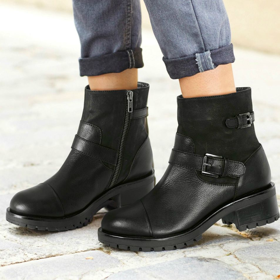 Embrace your inner biker chic with our buckle boots. They're perfect for everyday wear with a chunky sole and heel, and a full zip for ease getting on-and-off. With a double buckle feature these boots are sure to rock your wardrobe.