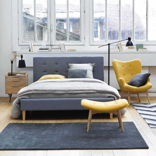 fauteuil vintage en tissu jaune maisons du monde pickture. Black Bedroom Furniture Sets. Home Design Ideas