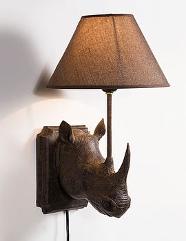 Not On The High Street Industrial Wall Light : DECORATIVE RHINO WALL LIGHT - Not On The High Street - Pickture
