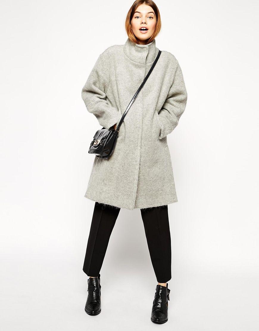 asos manteau oversize en laine duveteuse col asos pickture. Black Bedroom Furniture Sets. Home Design Ideas