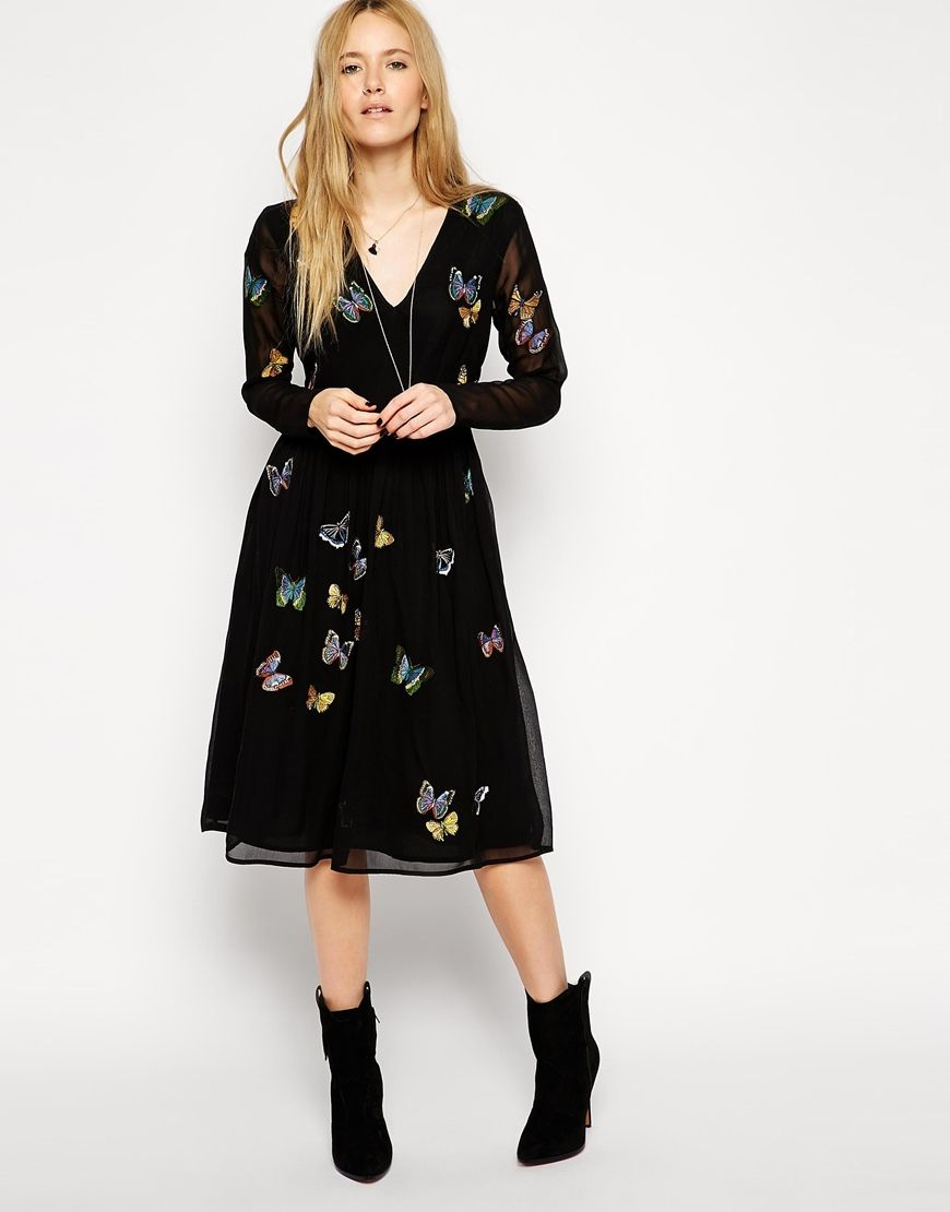 asos robe patineuse mi longue avec papillons asos pickture. Black Bedroom Furniture Sets. Home Design Ideas