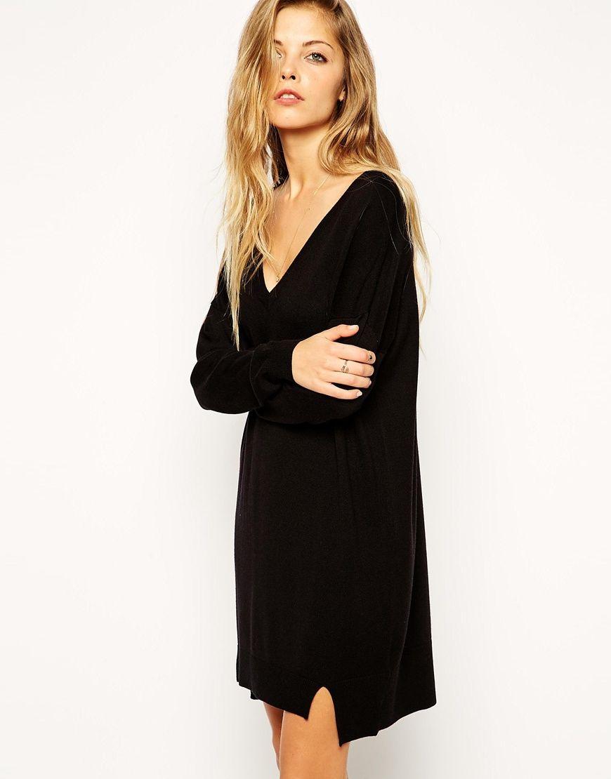 asos robe pull en maille fine avec col v asos pickture. Black Bedroom Furniture Sets. Home Design Ideas