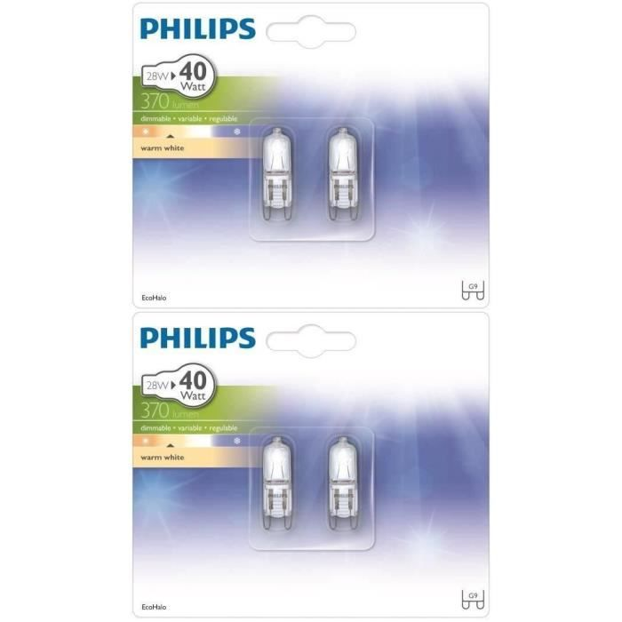 philips capsule lot de 4 ampoules halogene 28w g9. Black Bedroom Furniture Sets. Home Design Ideas