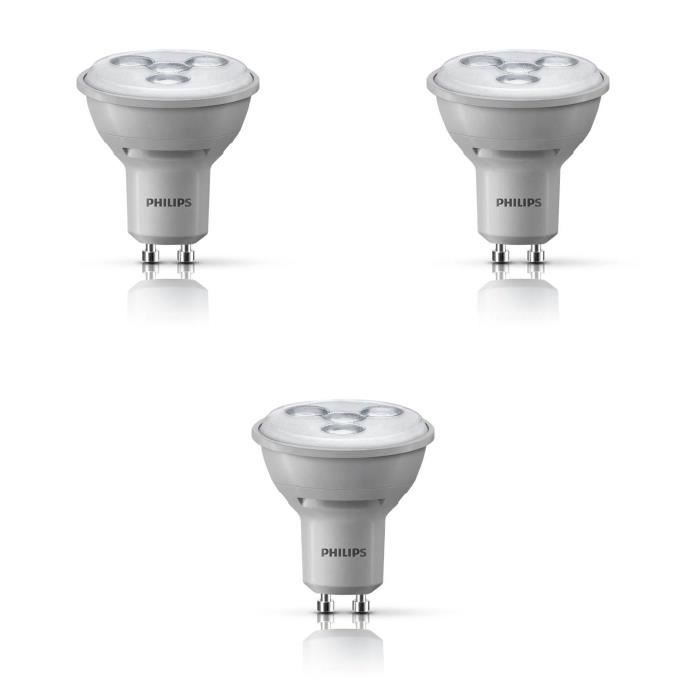 philips lot 3 ampoules spot led gu10 35w dimmable. Black Bedroom Furniture Sets. Home Design Ideas