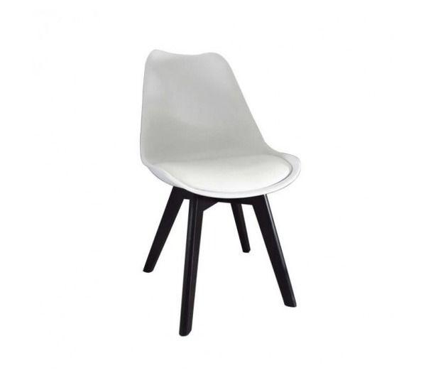 bjorn chaise coque pvc blanc pieds bois noir noname pickture. Black Bedroom Furniture Sets. Home Design Ideas