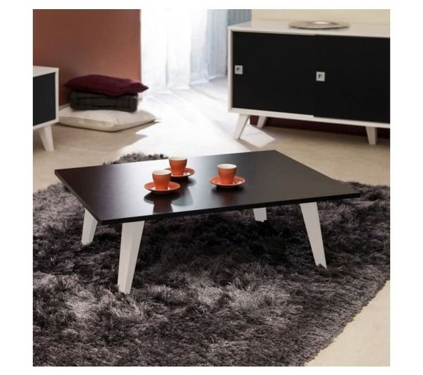 oslo table basse l89 cm noir blanc noname pickture. Black Bedroom Furniture Sets. Home Design Ideas