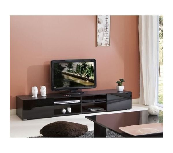 lime meuble tv 185cm portes laqu es noires noname pickture. Black Bedroom Furniture Sets. Home Design Ideas