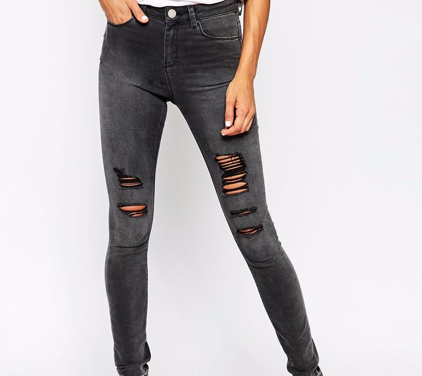 dark grey ripped at knee jeans  asos  pickture