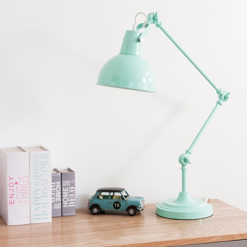 lampe de bureau orientable en m tal bleu pastel maisons. Black Bedroom Furniture Sets. Home Design Ideas