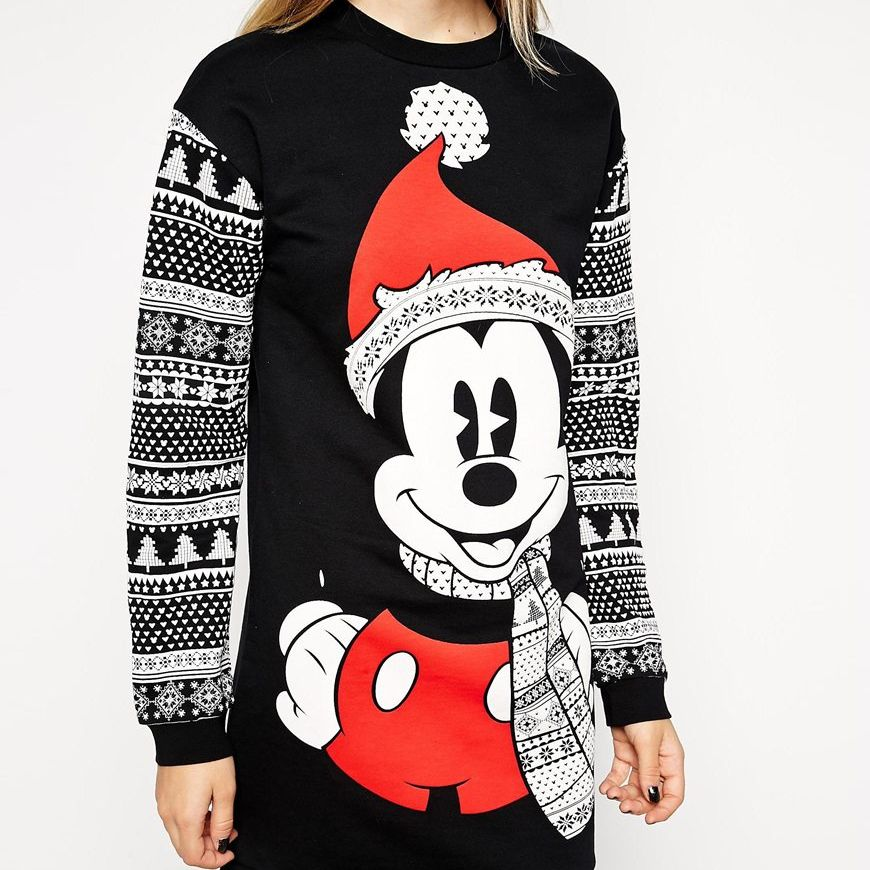 Asos jumper dress in christmas mickey mouse pickture