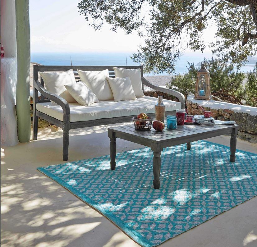 tapis d 39 ext rieur en pvc turquoise maisons du monde. Black Bedroom Furniture Sets. Home Design Ideas
