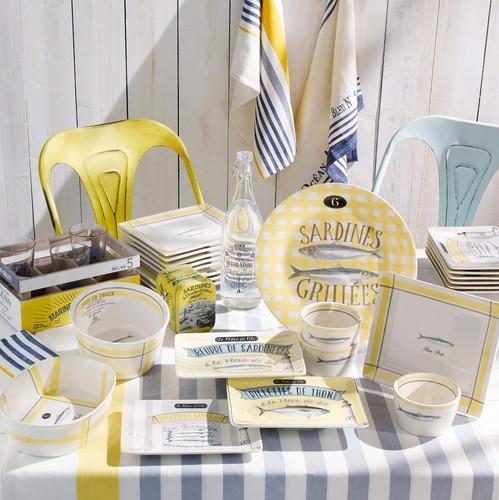 Assiette jaune sardines maisons du monde pickture - Assiette maison du monde ...